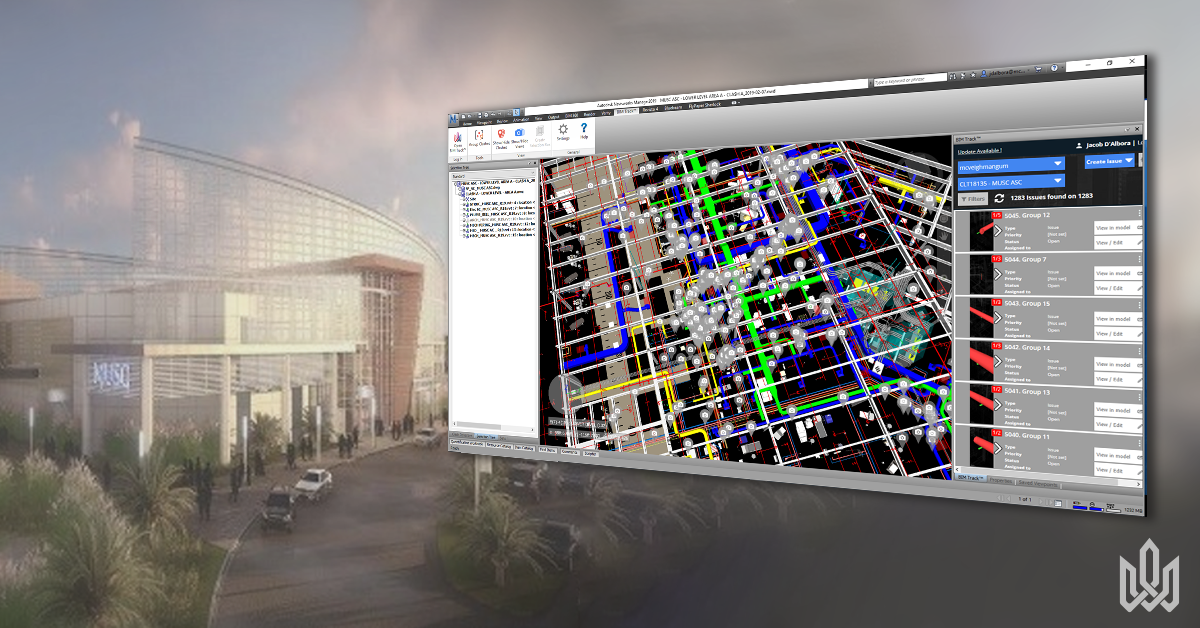 Screenshot of issues in Navisworks on the medical rennovation project by McVeigh & Mangum.