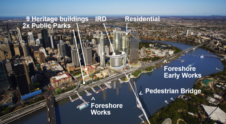 Aerial view of the Queen's Wharf development project by DBM Vircon in Brisbane.