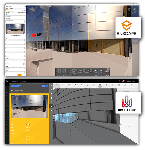 Raise and edit issues in Enscape and sync with BIM Track for an improved design review workflow